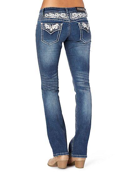 image of Sequin Swirl Slim Boot Jean in Curvy
