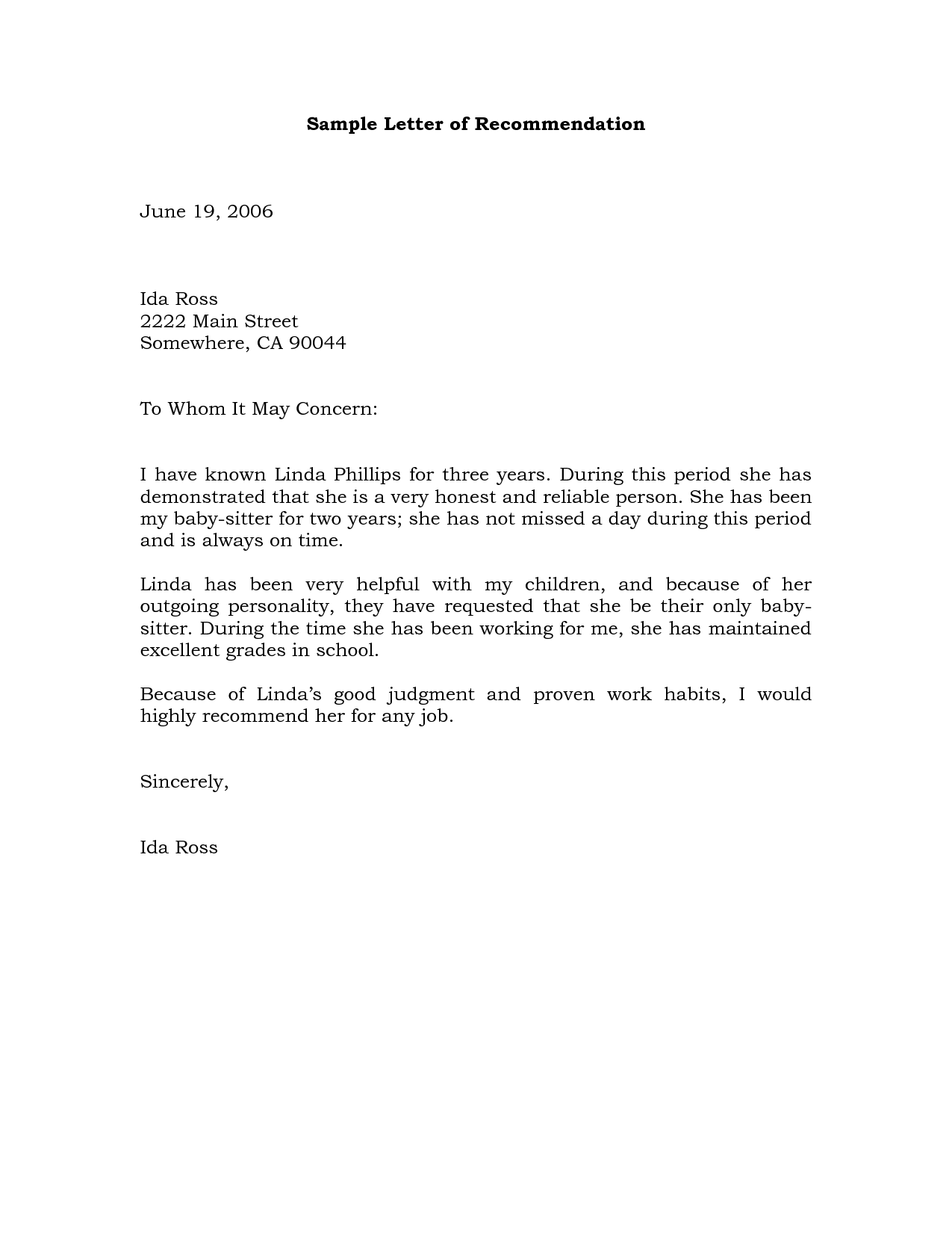 Sample Recommendation Letter Example  Free Recommendation Letters