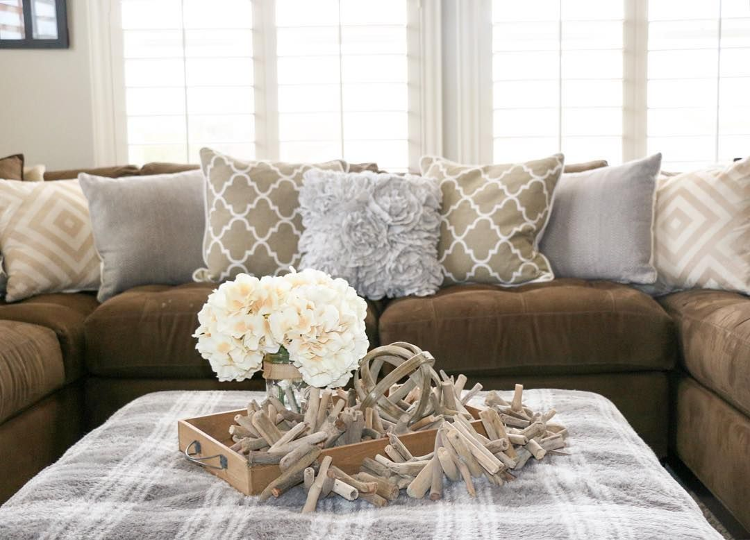 How To Decorate A Family Room With Dark Brown Couches Grey And Tan Accents And White Walls With Our Brown
