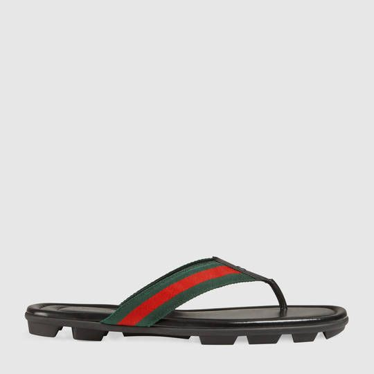 9279bb7a0083 Gucci Web and leather thong sandal