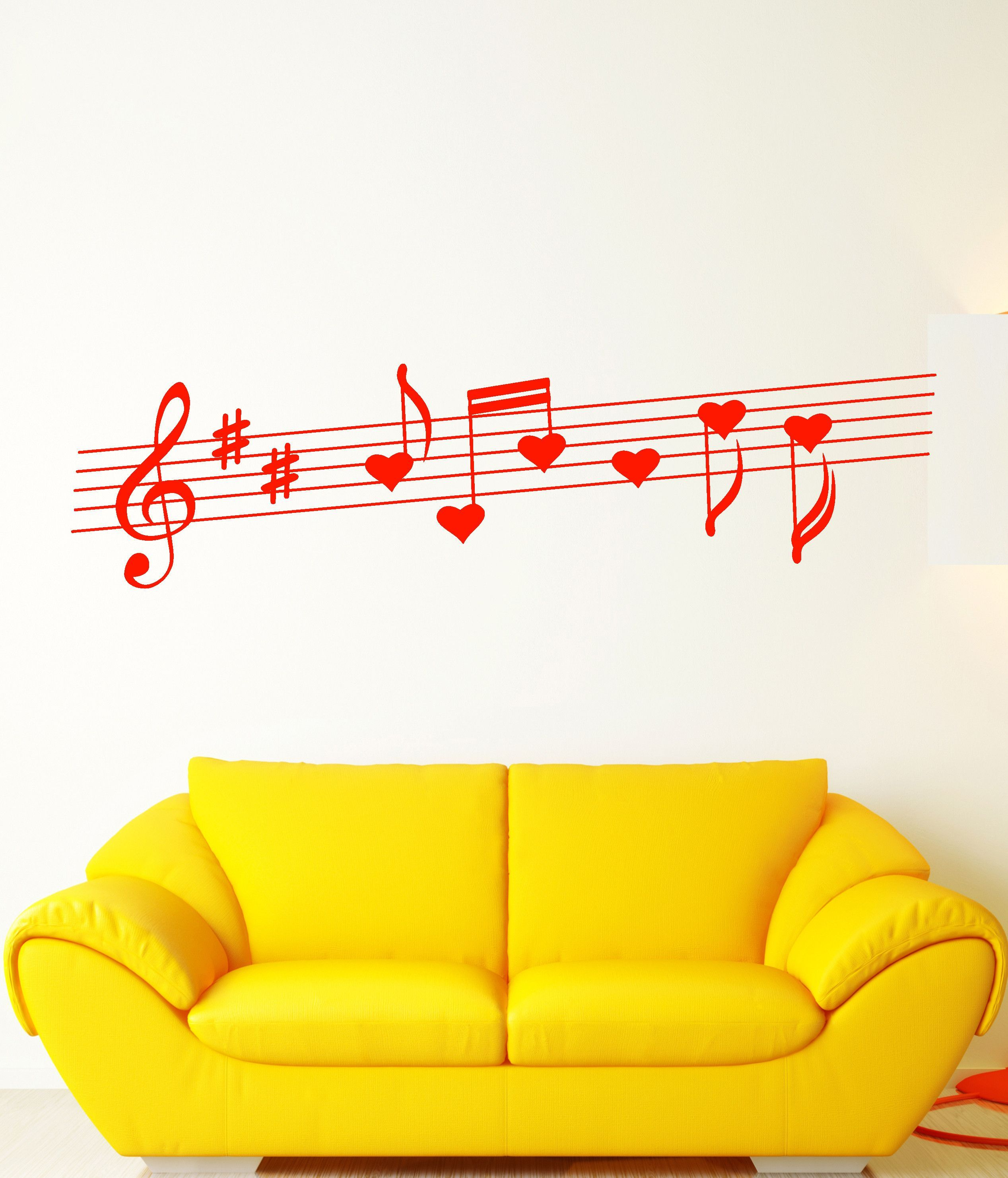 Vinyl Wall Decal Heart Notes Love Song Music Romance Stickers ...