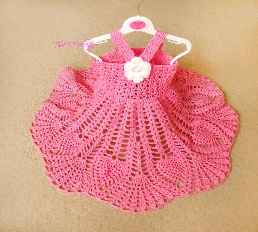 Pink Crochet Baby Dress Handmade Girl Dress White Flower
