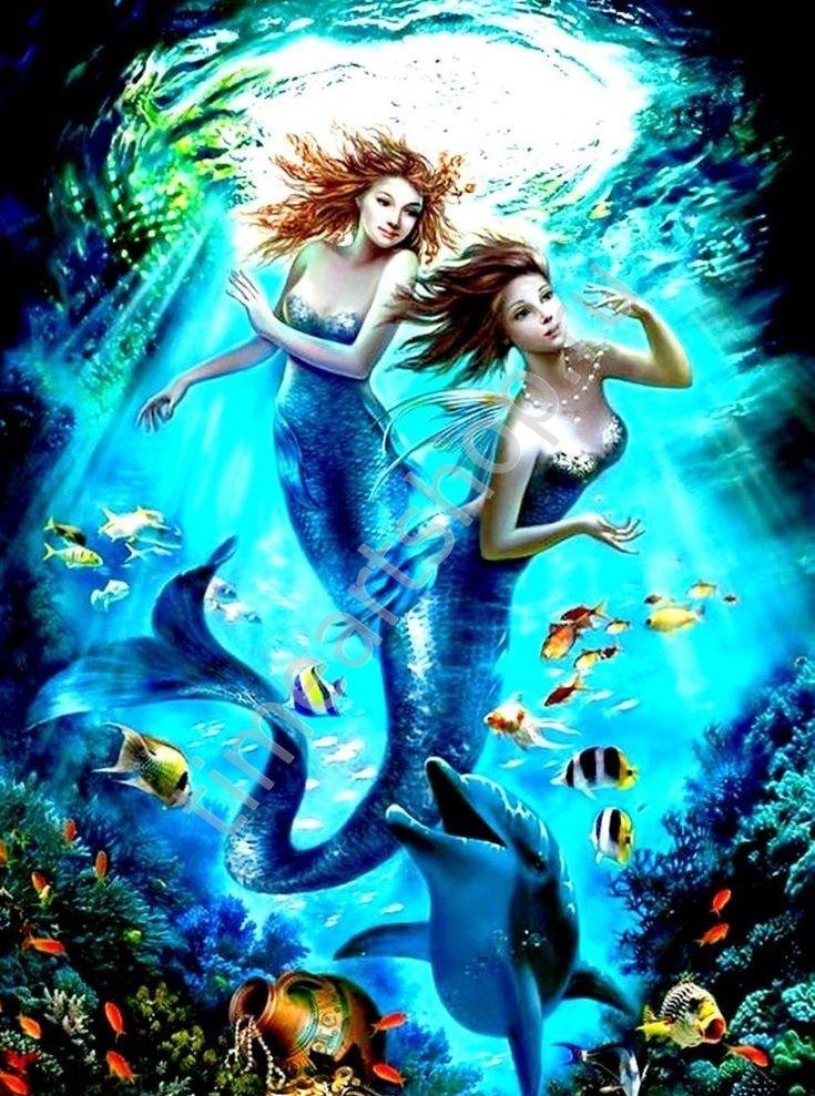 Русалочки и дельфин, картина раскраска по номерам, размер ...