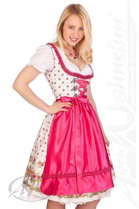 MarJo Leder Tracht Mididirndl - Trachten Mididirndl 2tlg. - FRINI - pink