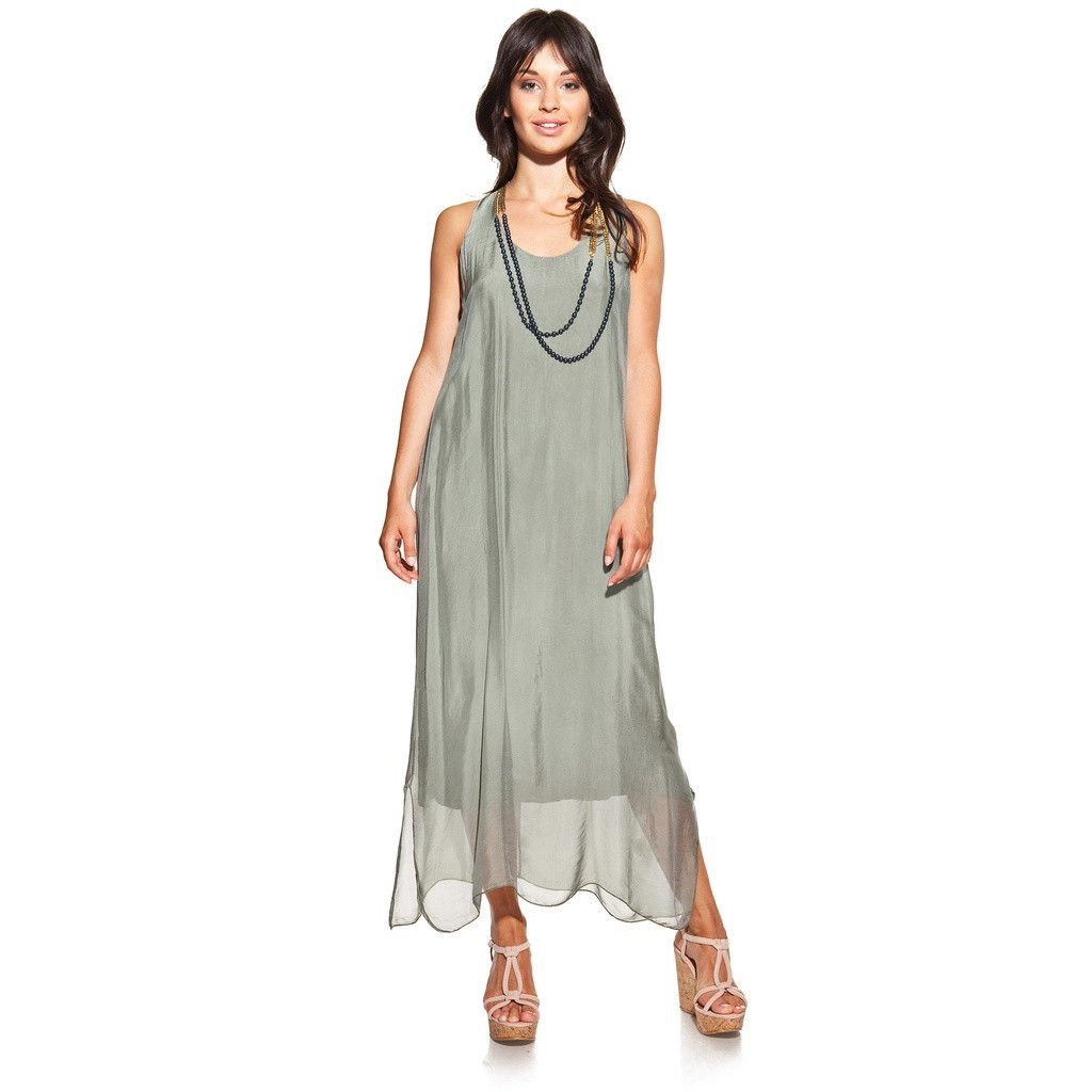 Maxi silk green olive dress with side openings