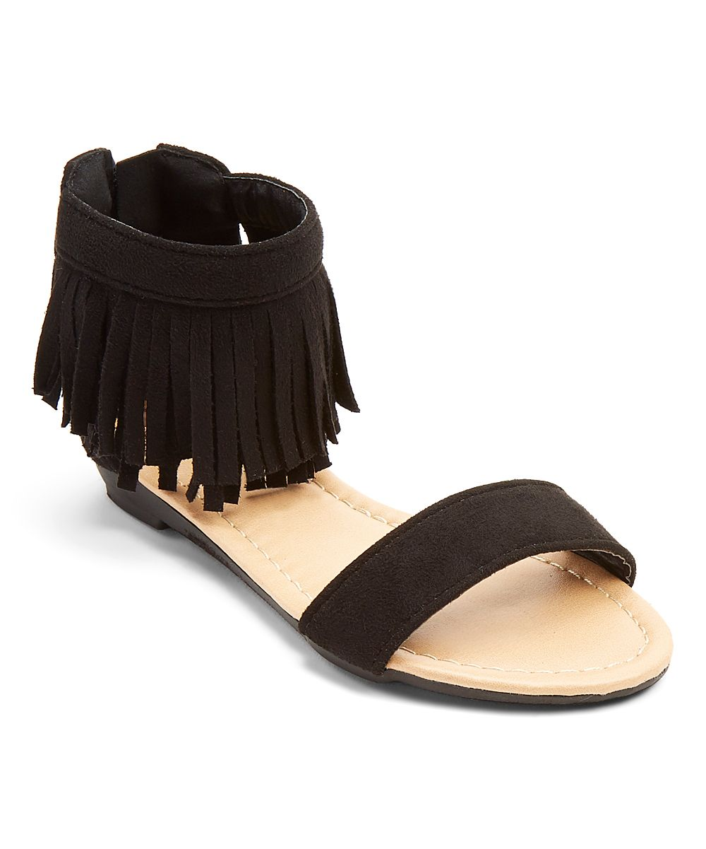 Black Fringe Fringe Ankle Sandal