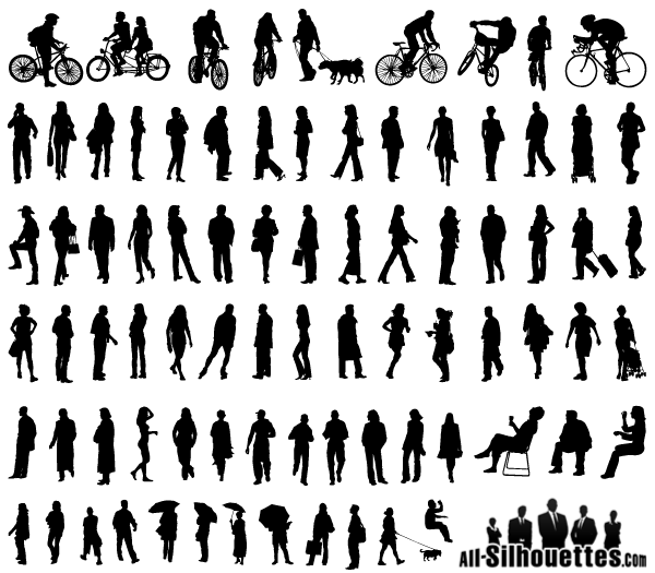 Free Vector Silhouettes Of People Standing Sitting Walking Silhouette People Person Silhouette Drawing People