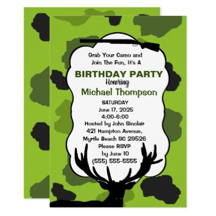 Deer hunter camouflage birthday party card camouflage birthday party deer hunter camouflage birthday party card bookmarktalkfo Image collections