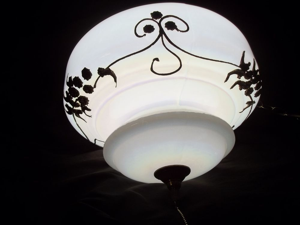Vtg Iridescent Swag Light Fixture White Glass Globe Gold Filigree Scribe MCM