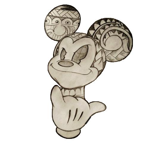 Mickey mouse in polynesian designs geek art pinterest - Apprendre a dessiner mickey ...