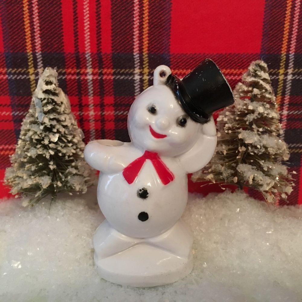 vintage plastic snowman candy holder container lolli sucker christmas ornament - Vintage Plastic Christmas Decorations