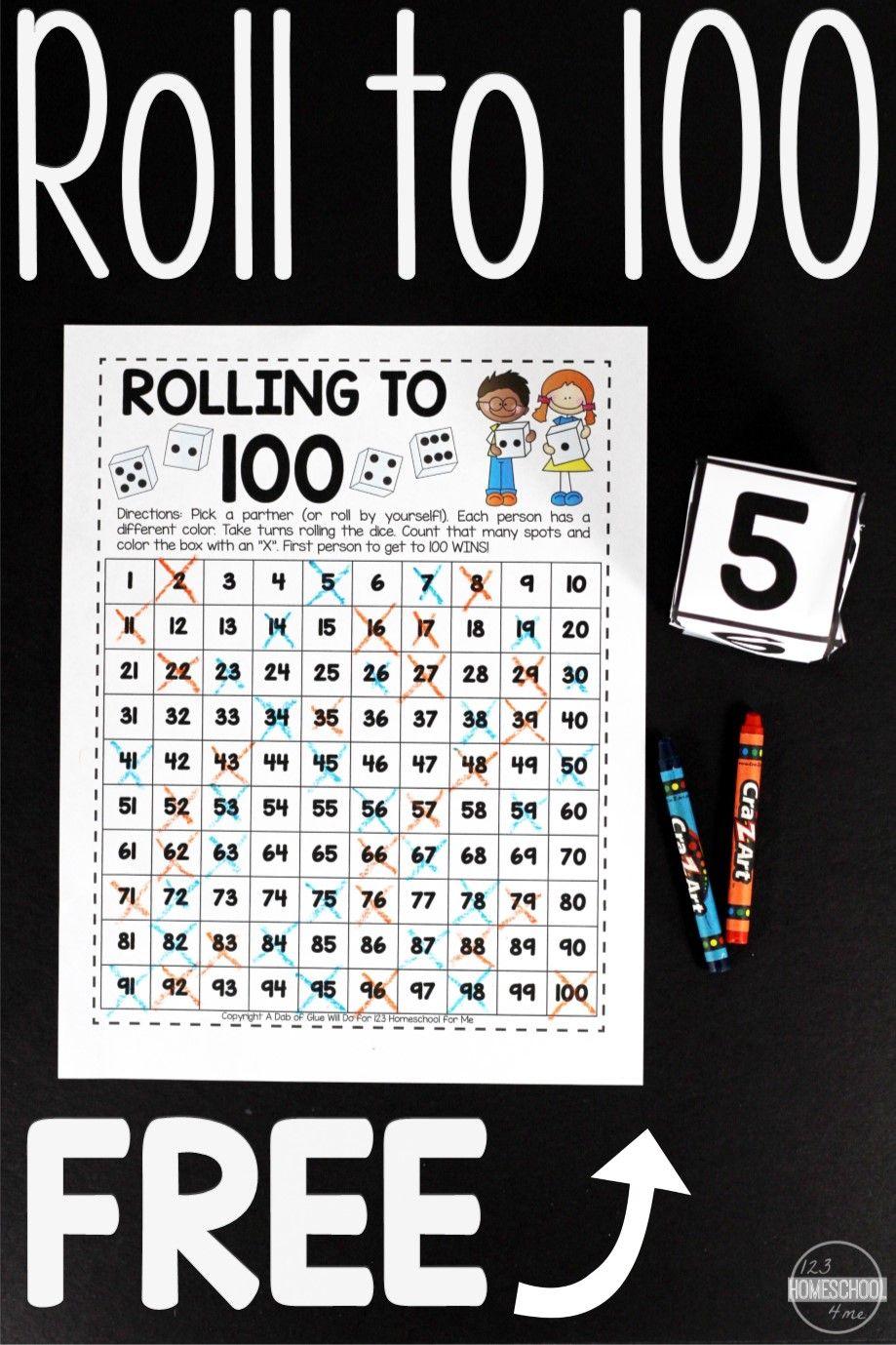 Free Roll To 100 Math Game Kindergarten Math Games Kindergarten Math Activities Counting To 100 [ 1379 x 919 Pixel ]