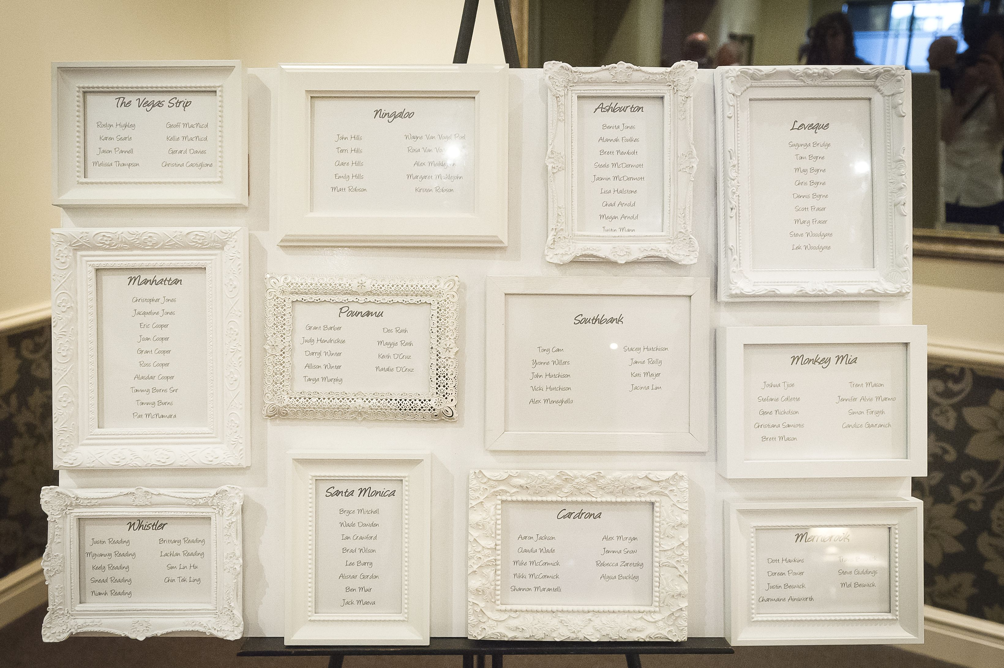Table seating plan using white photo frames. | seating plan ...