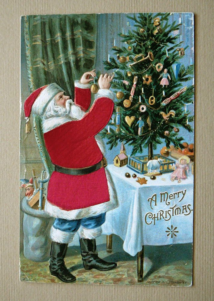 Antique 1916 Christmas Card Postcard Santa Silk Suit Trimming the Tree P. Sander