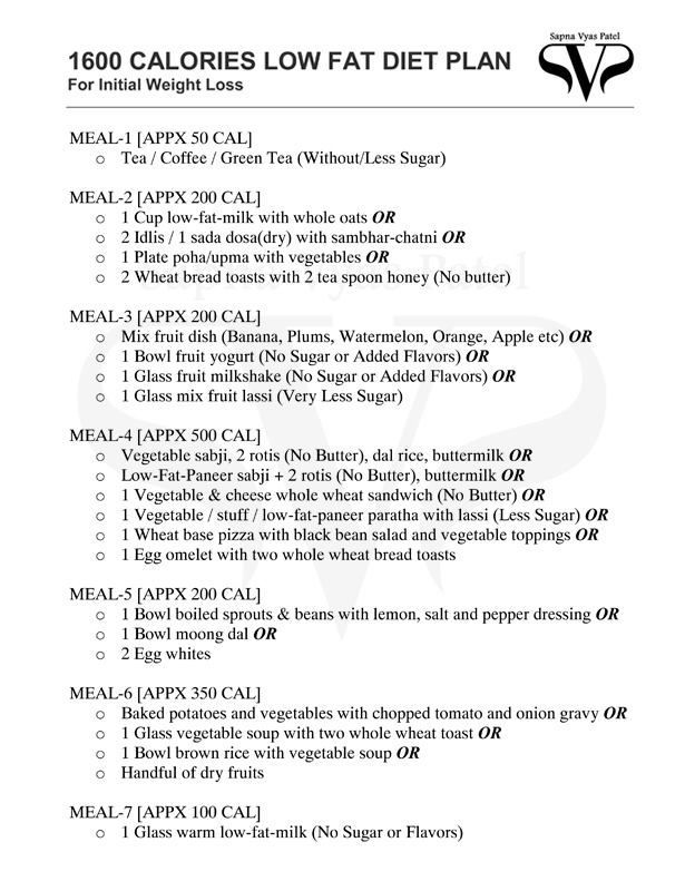 Calories Low Fat Diet Plan  Diet Chart    Low Fat