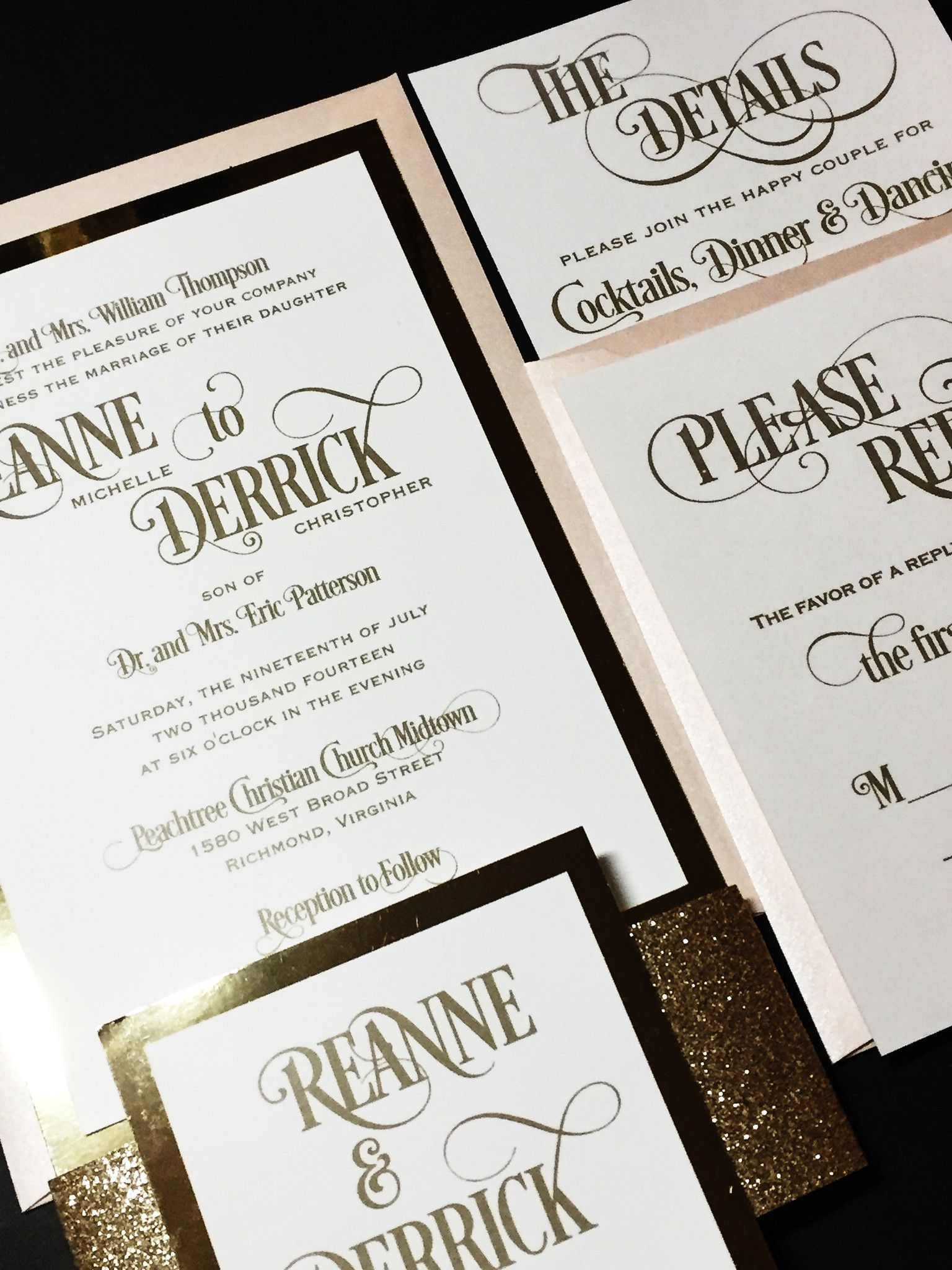 Gold Glitter Wedding Invitation, Modern Wedding Invitation ...