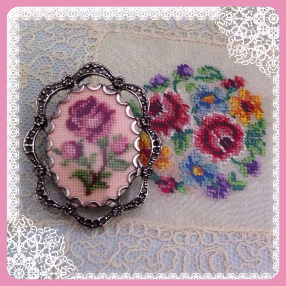 Petit Point brooch pendant by VictorianAntiques on Etsy https://www.etsy.com/listing/162955962/petit-point-brooch-pendant