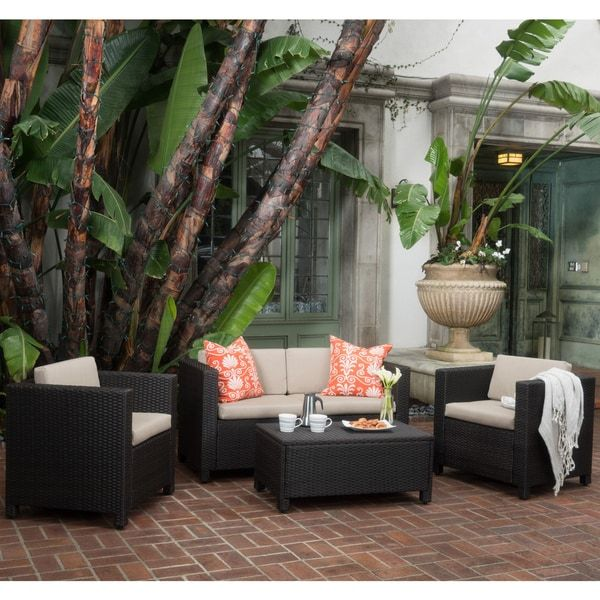 Puerta Outdoor 4 piece Sofa Set by Christopher Knight Home Grey