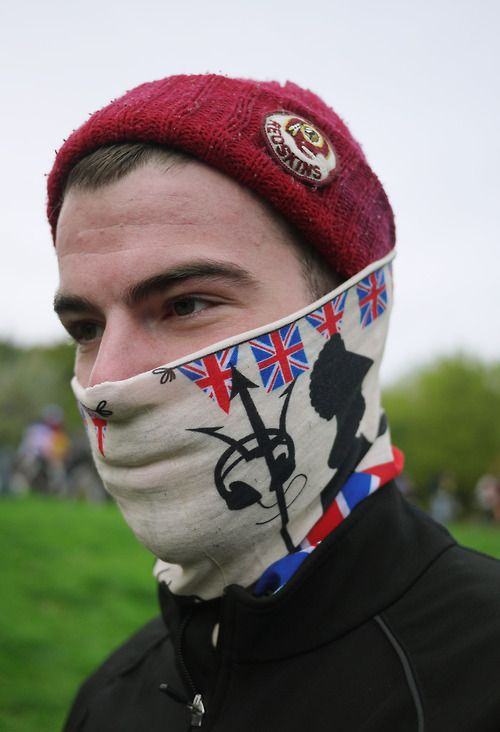Nationalist styling at the Rapha Super Cross 2012 Series, Alexandra Palace, London.   WGSN street shot