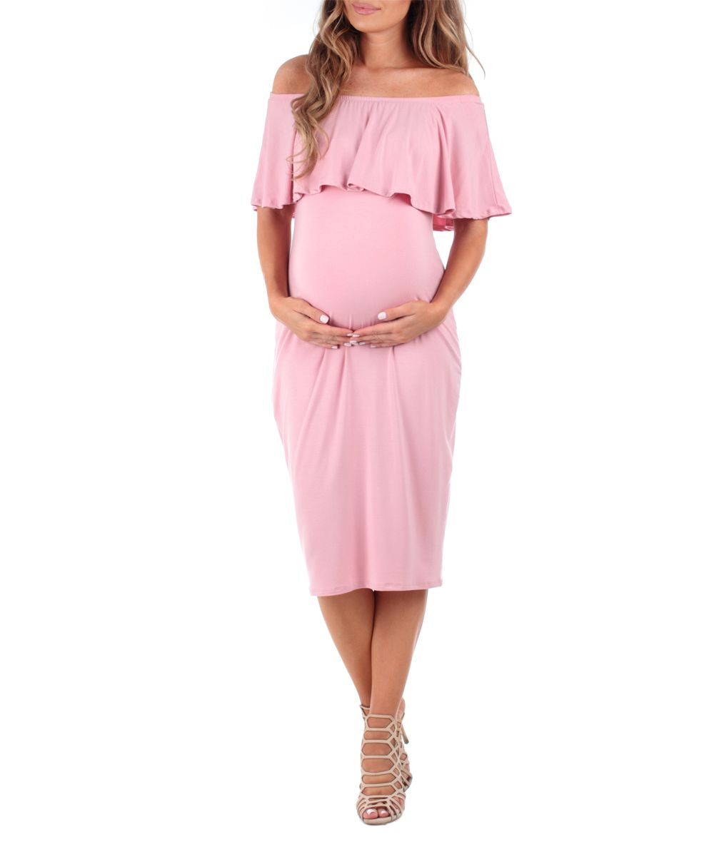 Lace Maternity Dresses For Baby Shower: Dusty Pink Off-Shoulder Maternity Dress