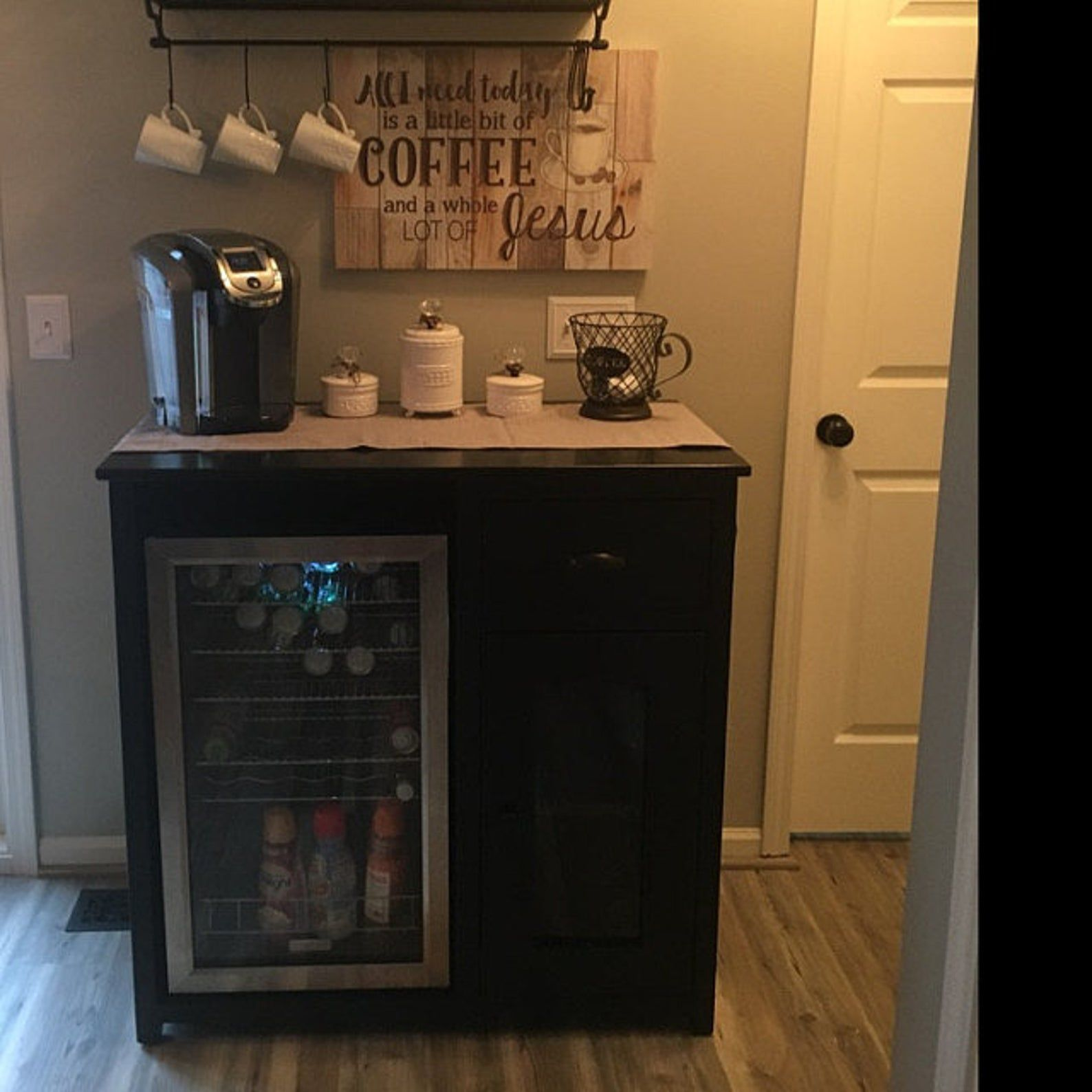 Coffee Bar Etsy in 2020 Sideboard with wine rack, Diy