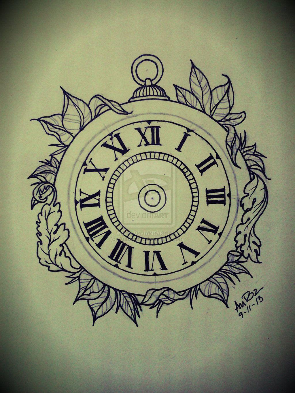 Rose Clock Tattoo Designs Drawing: Clock Tattoo Tattoo Drawing Designs Rose Pocket Watch