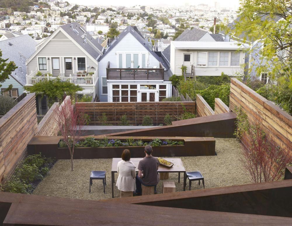 interesting modern garden on sloped siteliberty hill residence, Terrassen ideen