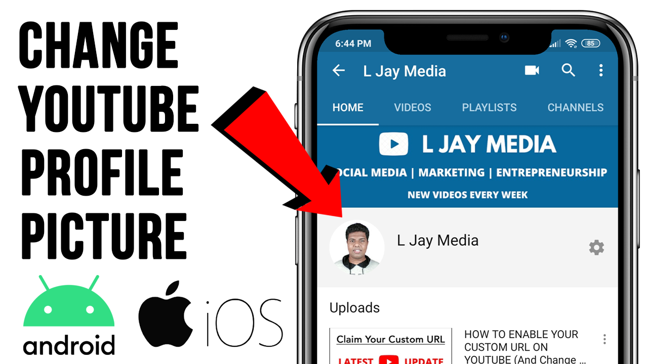 How To Change Your Youtube Profile Picture On An Iphone Ipad Or Android Device You Youtube Profile Picture Youtube