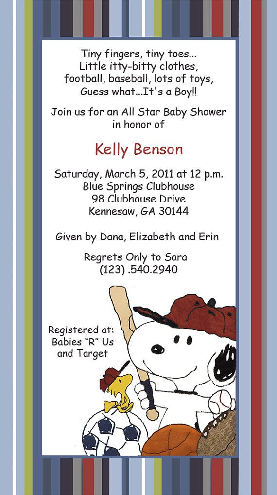Baby Snoopy Sport Invitations by SuzansDesigns on Etsy, $0.50 ...