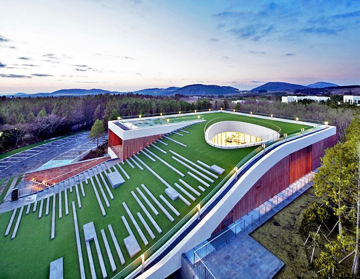 Sloping Green Roof Tops Submerged Multipurpose Hall On Jeju Island Green Roof Roof Architecture Green Roof Building