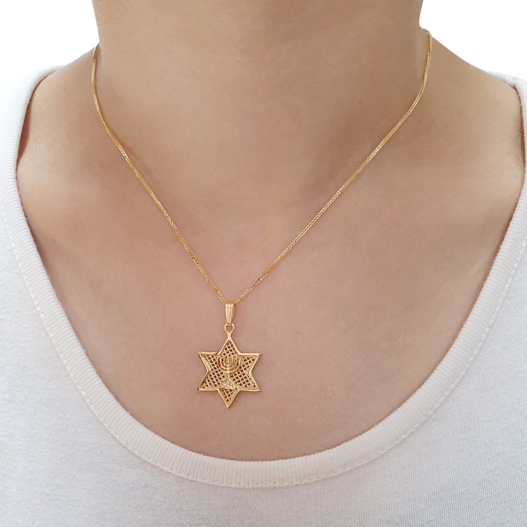 Gold Star Of David Menorah Necklace Etsy Yellow Gold Pendants Gold Stars Womens Necklaces