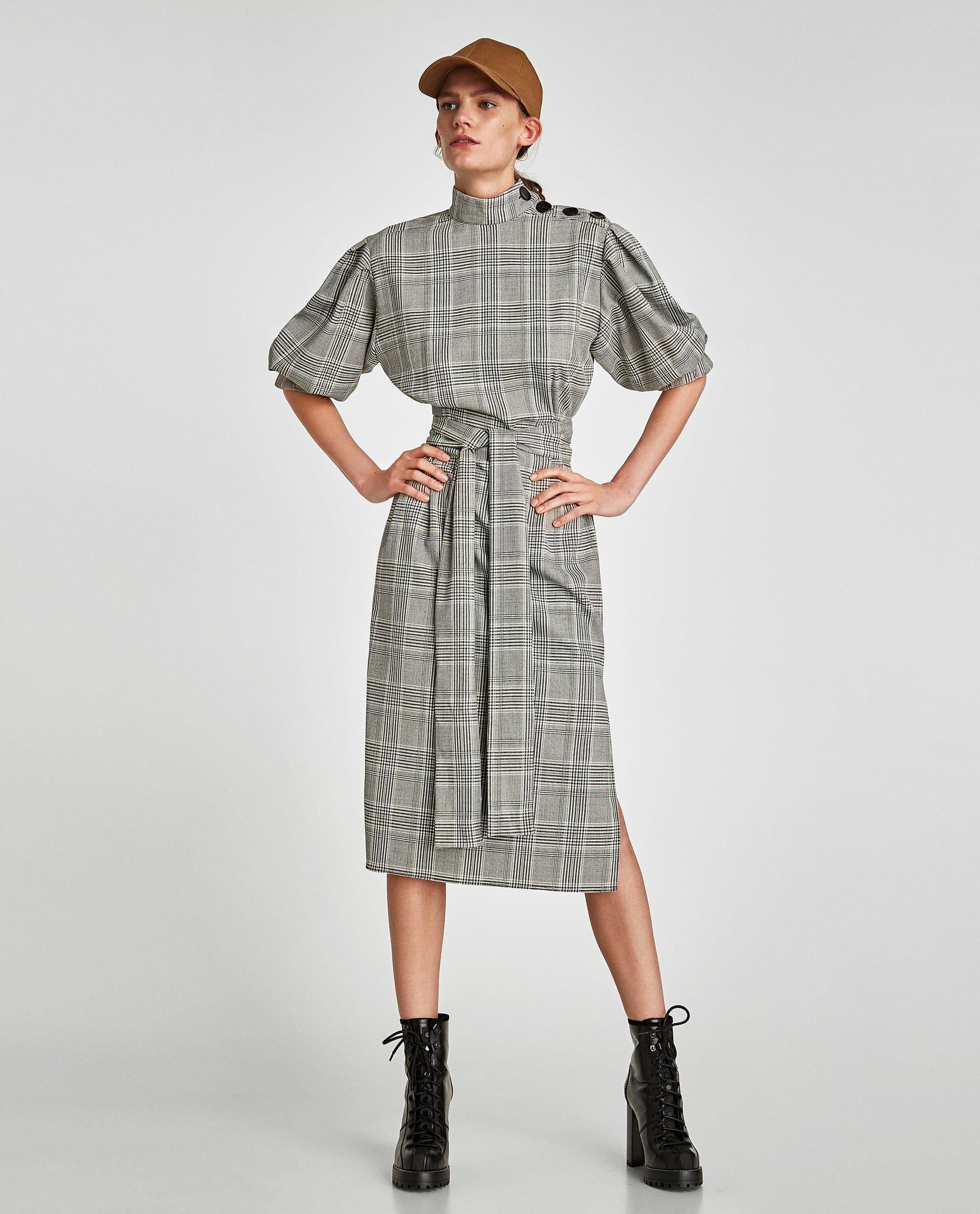 zara official website | kariertes kleid, kleid mit knöpfen