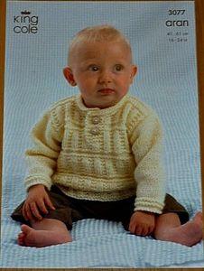 a1d3cf8eb Babies Button Neck Jumper Aran Knitting Pattern