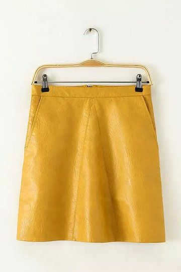 High-rise Waist Leather A-line Skirt in Yellow