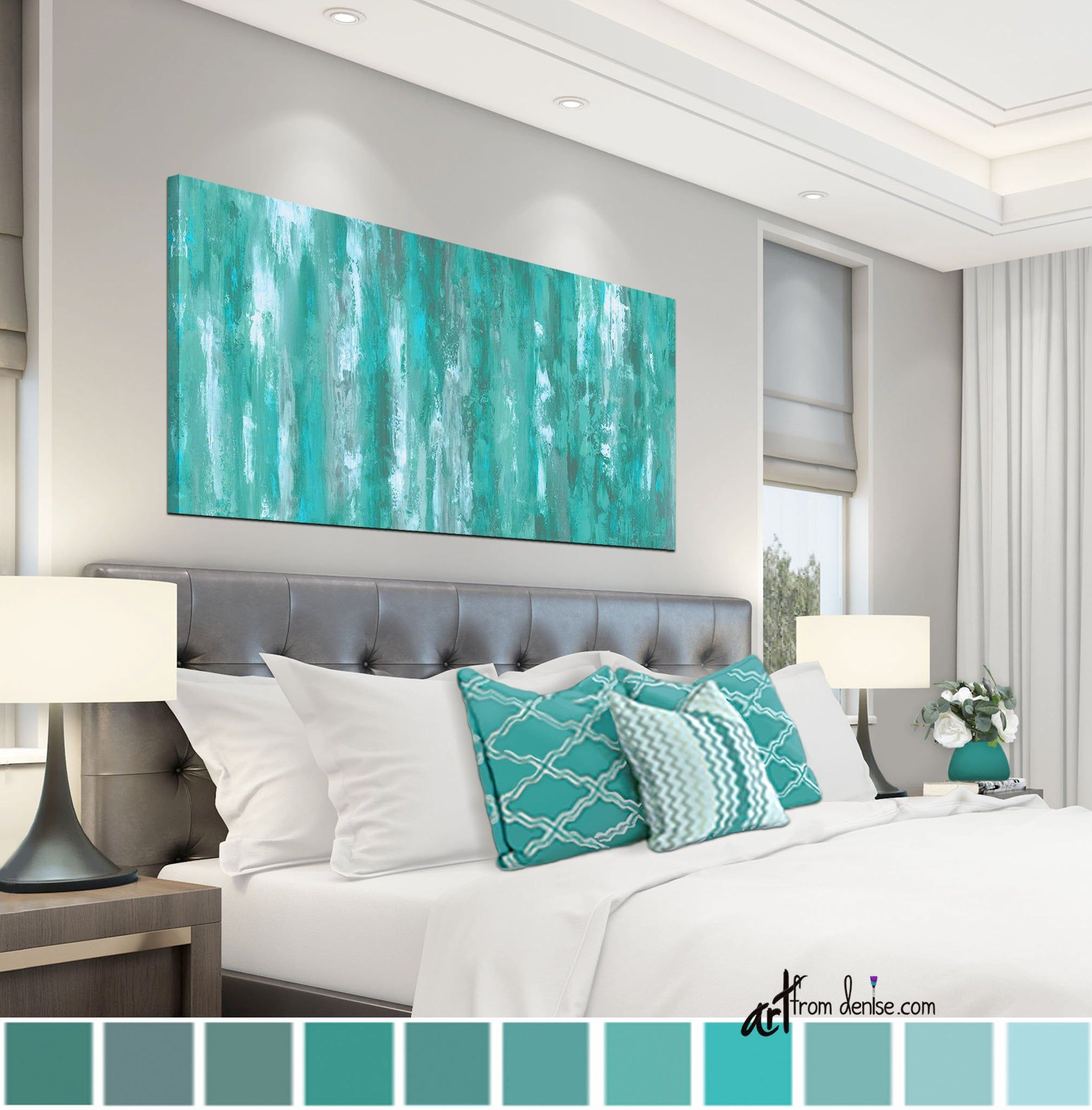 gray green teal wall art canvas abstract bedroom wall on canvas wall art id=39567