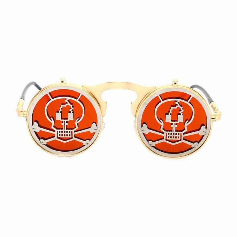 faaf00bdfce Cosplay Pirate Round Steampunk Flip Up Unisex Sunglasses Gold Metal Frame