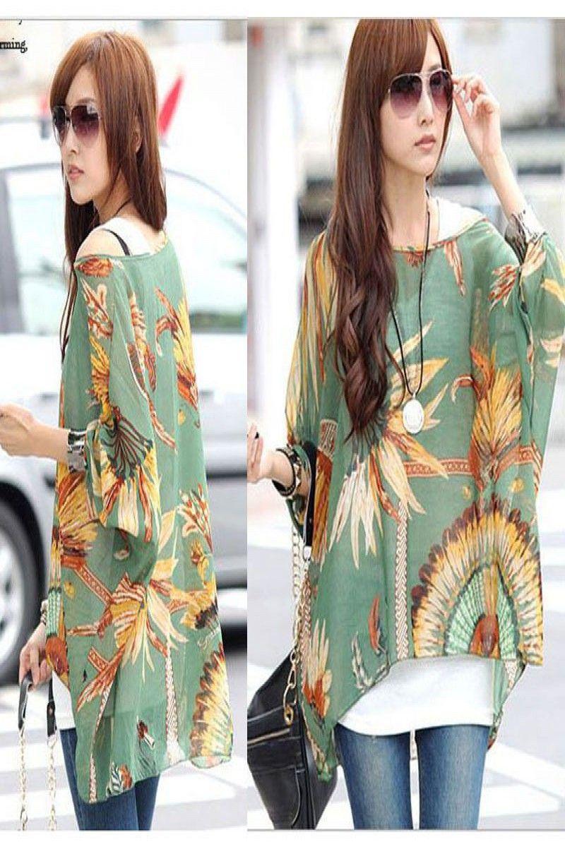 a99ea25de144c9 6.98   Summer Women's Floral Caftan Loose Batwing Blouse Kimono Chiffon Tops  T-shirts ❤ #summer #womens #floral #caftan #loose #batwing #blouse #kimono