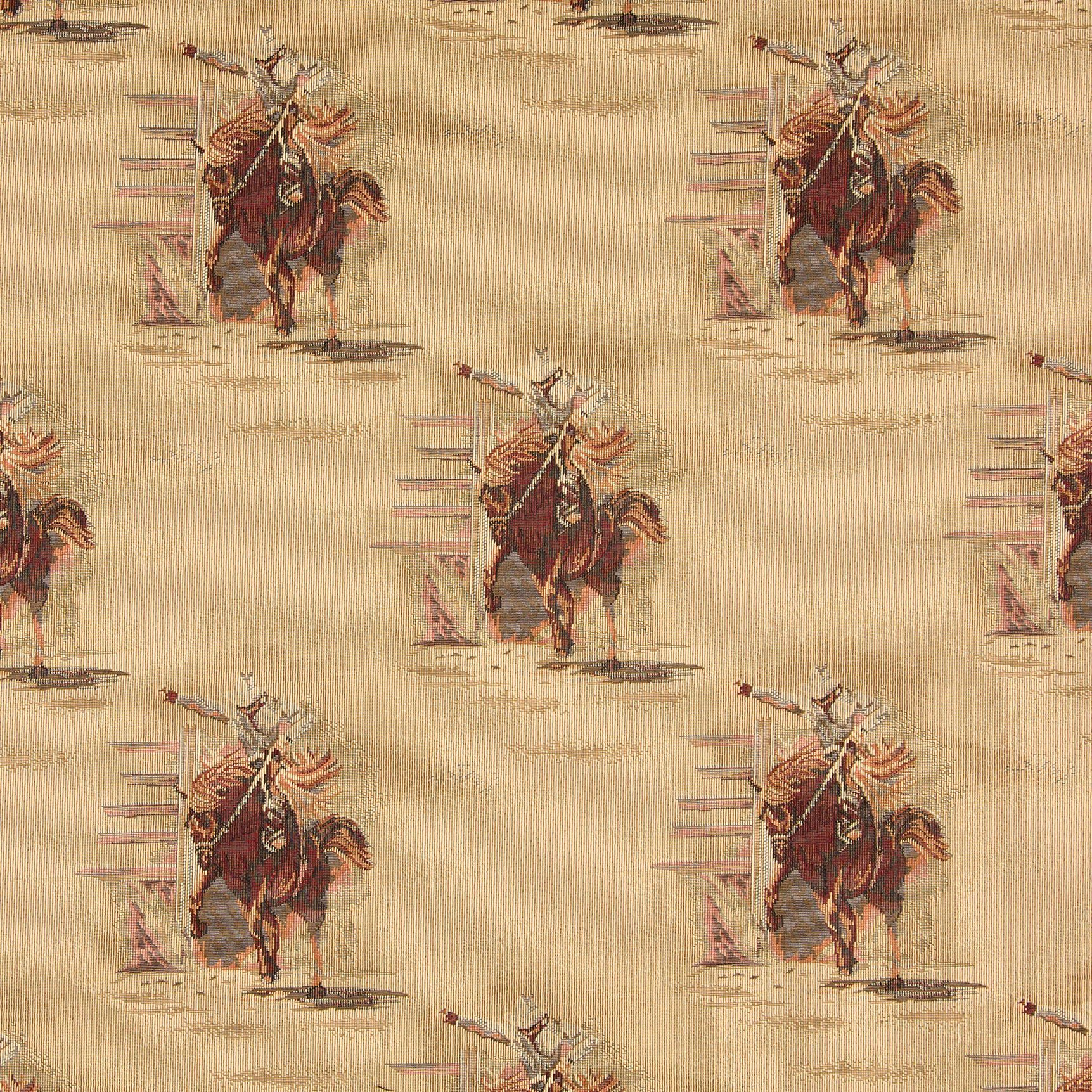 63095ac07 A022 Rodeo Cowboys and Horses Themed Tapestry Upholstery Fabric ...