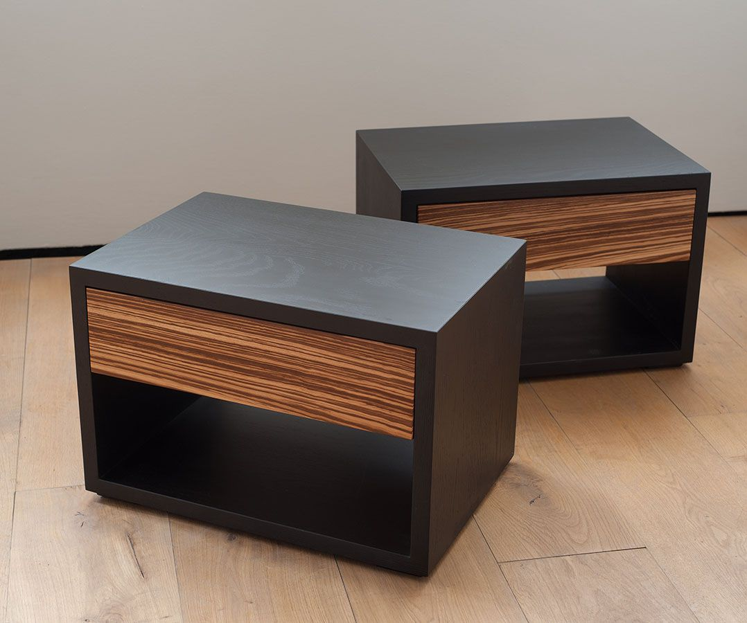 New Black oak and zebrano bedside tables from Natural Bed Company