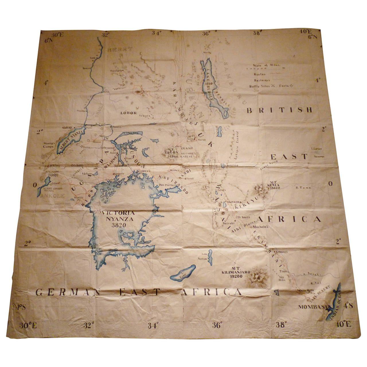 Map Of East Africa 1stdibs Com Vintage Maps Modern Map Map
