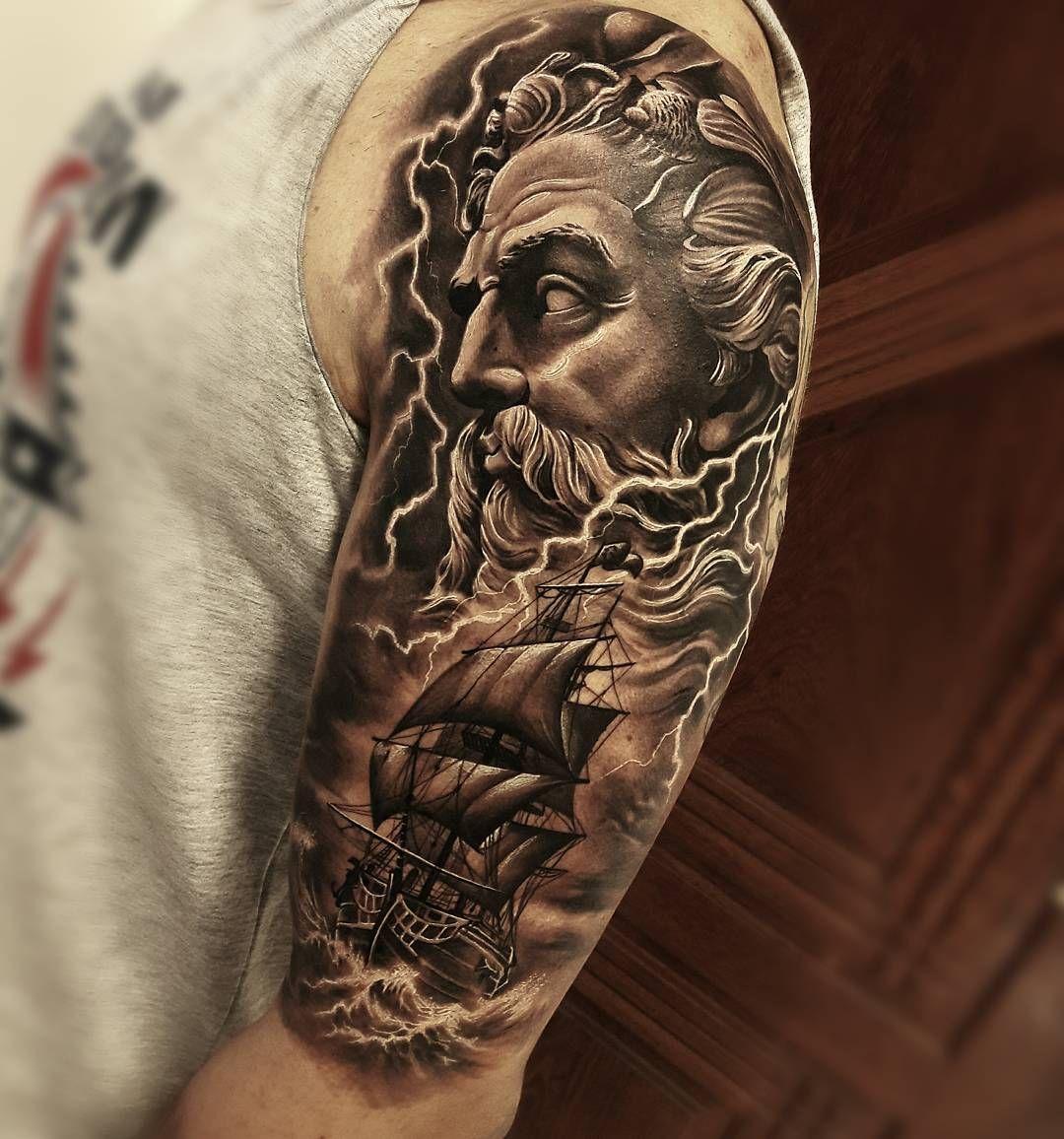 Poseidon Tattoo: Poseidon Tattoo By Samurai Maciel