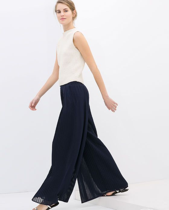 a1d04db7a9e Image 2 of WIDE PLEATED TROUSERS from Zara
