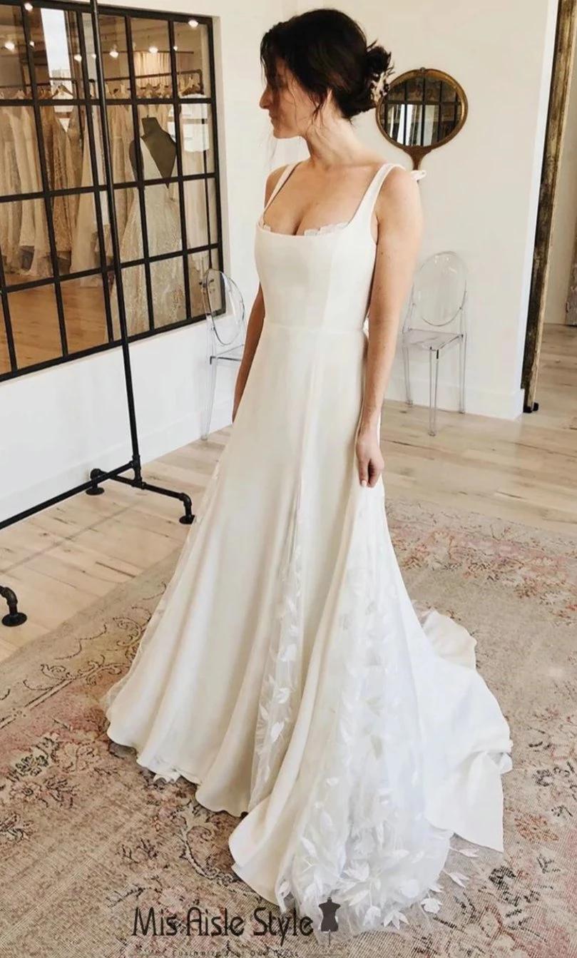 A Line Square Neckline Wedding Dress Wedding Dress Necklines Square Neckline Wedding Dress Backless Wedding