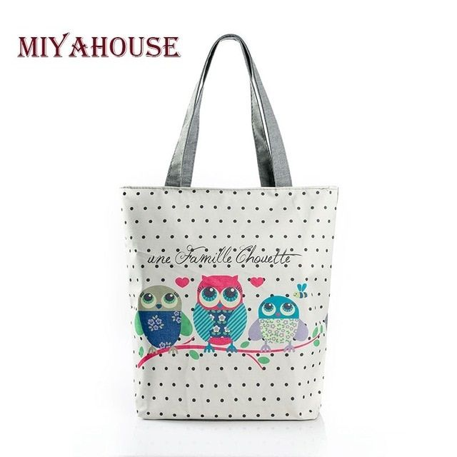 925d9c4a01c4 Floral And Owl Printed Women's Casual Tote Female Daily Use Female Shopping  Bag Ladies Single Shoulder Handbag Simple Beach Bag Review