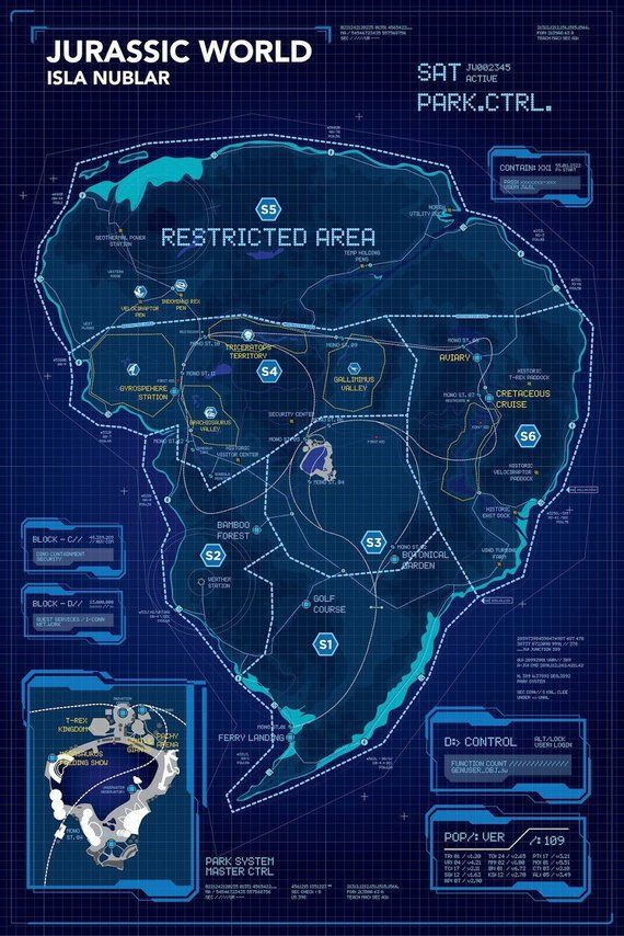Isla Nublar Map on