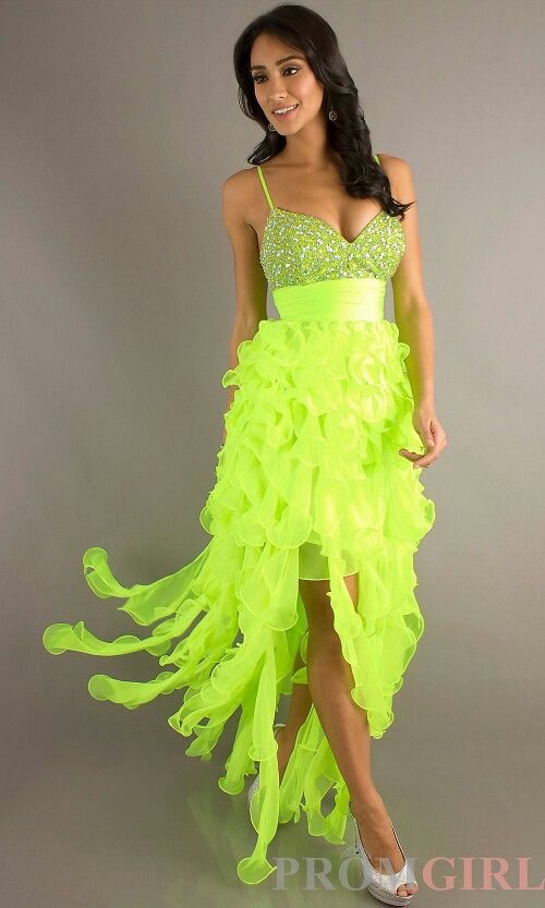 Neon High Low Prom Dresses