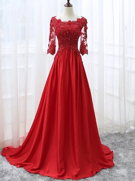 Beautiful Red Satin Short Sleeves Long Party Dress