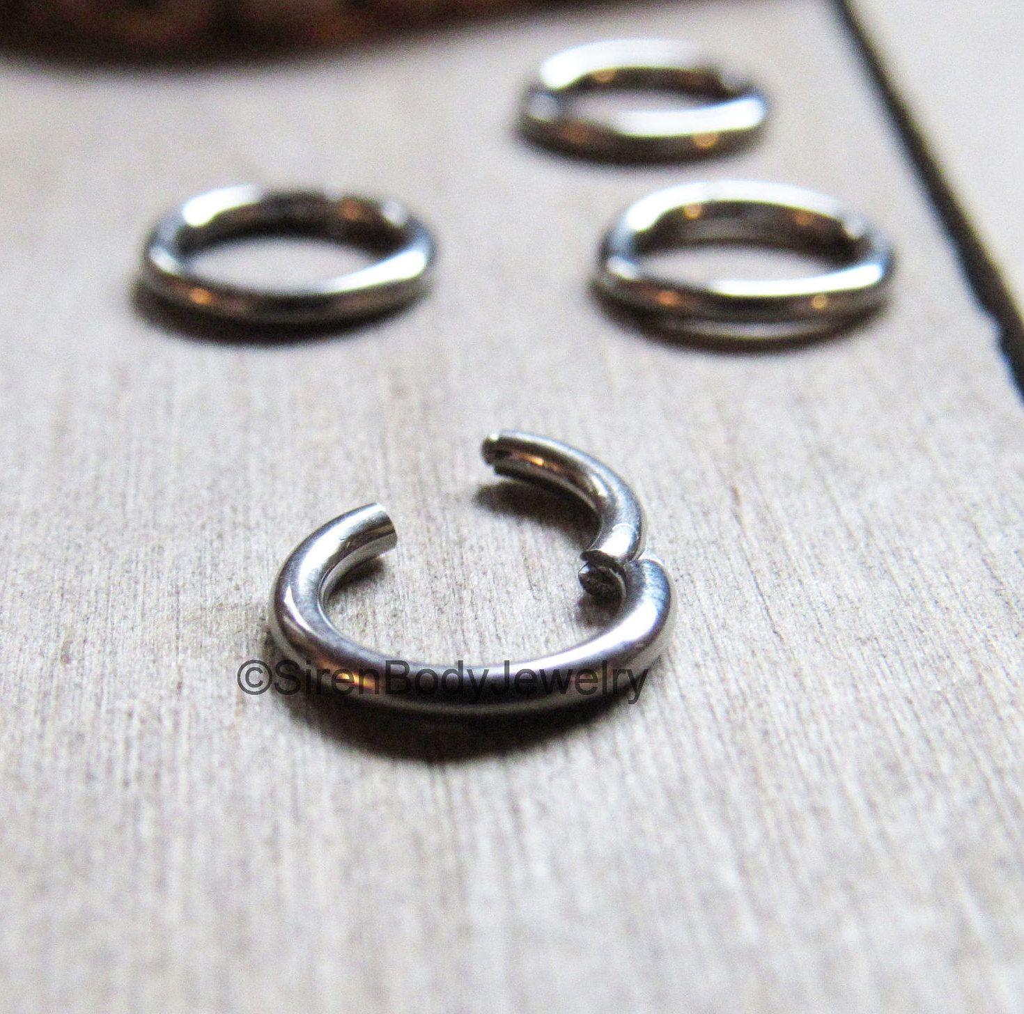 Tiny septum piercing hinged segment ring daith earring small ...