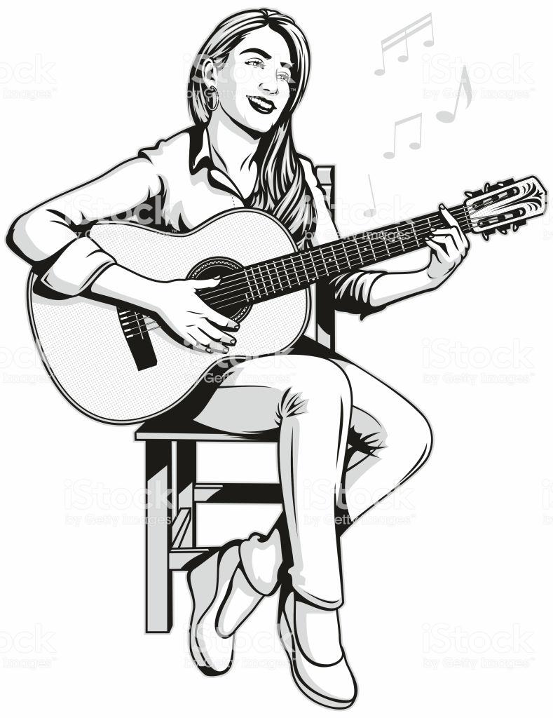 Retro Pop Art Illustration Of A Pretty And Sassy Young Woman Sitting Imagenes De Guitarras Acusticas Guitarra Para Dibujar Ilustracion De Arte Pop