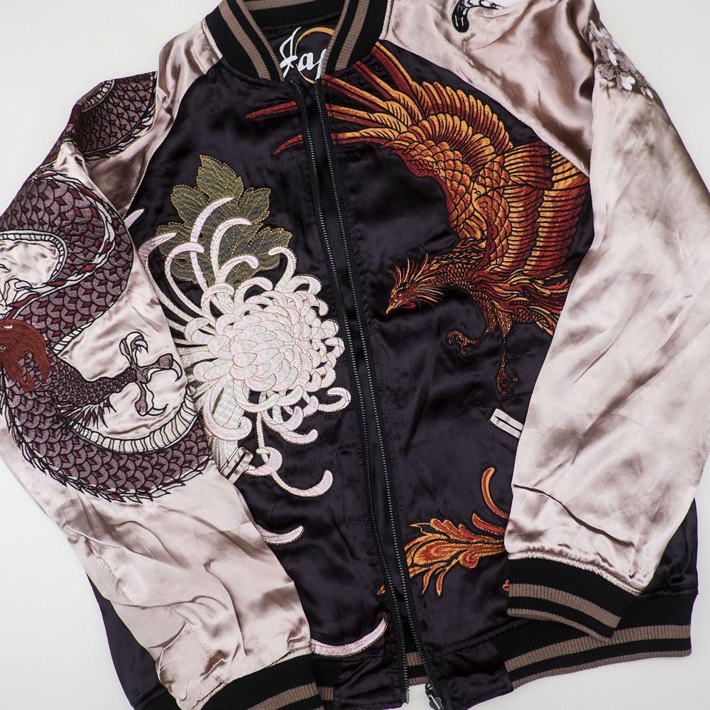 Big Sukajan White Tiger Mt.Fuji Crescent Moon Embroidery Souvenir Jacket Bomber